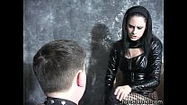 Mistress slaps her pony slave continuously on h...
