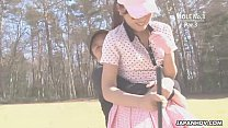 course golf the at naked gets babe Asian