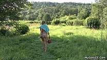 Older man eats son's GF pussy in the fields porn videos