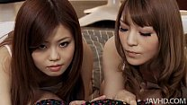 Nao and a girlfriend share a horny guy and his rigid dick taking turns sucking h porn videos