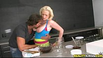 Busty blonde Alyssa cooks up something kinky - download porn videos