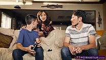 Awesome MILF helps out a gamer guy who has a hu...