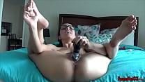 screwing my dildo in a bikini solo orgasm