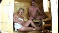 creampie with ends sauna the in fucking Milf