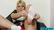 Cute blondie Ruth bare feet show and footjob porn videos