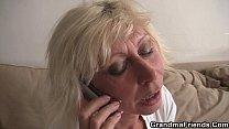 Hot blonde grandma enjoys two fresh cocks porn videos