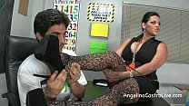 Busty Angelina Castro Threeway FootFetish BJ in...