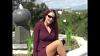 Victoria Red Teases in a Purple Suit and Tan Pa...