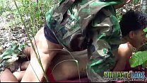 cute boy gets army ass to mouth outdoors