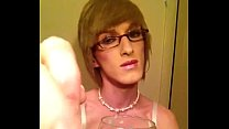 eating my cum  crossdresser sissy fay