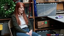 Redhead teen shop thief caught and fucked by se...