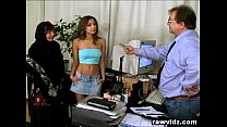 Pervert Old Boss Busty Teen And Mom Office Thre...