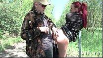 French redhead slut gets ass fucked in threesom...