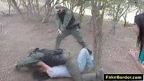 Slutty Latina babe fucked by fake border patrol...