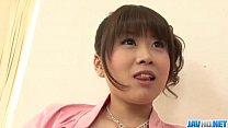 Ririka Suzuki needy milf kneels in front of a b...
