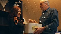 Redhead slutty chick rewards generous grandpa w...