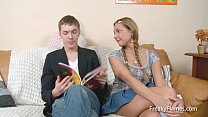 teen blondy seduces her step brother later she is fucked