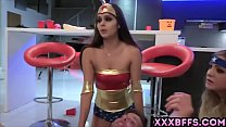 Teen girls in sexy costumes blows and fucks wit...
