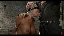 Sex slave with huge breasts tied like a hog and fucked in extreme deepthroat sex