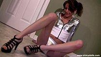 Lola in Shiny Silver Top & Panties & High Heels...