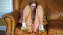 Sweet amateur fingering her pussy on casting couch
