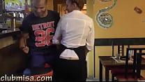 Sexy waitress fucks hard with horny customer thumb