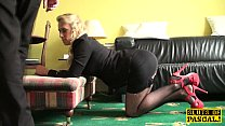submissive blonde bends over