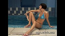 Brunette Watches Swimmers Muscles Until She Can...