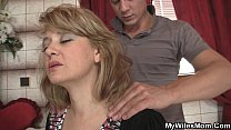 Wife comes out and he bangs her hot mommy