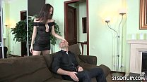 spunk with filled gets and dick rides brunette gorgeous internal All