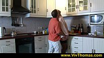 Hot blonde with perfect body writhes on kitchen...