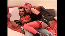 Casting french punk in red fishnet stockings hard fucked thumbnail