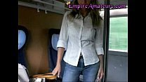 hot german cougar with big tits gets fucked on the train and her tits pasted in cum