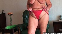 Chubby granny with saggy big tits and plump ass...