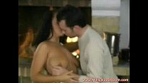 Romantic holiday sex in front of chimney thumbnail