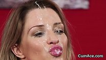 Wacky model gets jizz load on her face swallowing all the semen