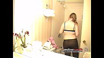 Chubby nerd teen hidden cam taking shower in motel