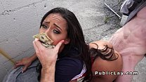 Cash hungry mixed race babe in public