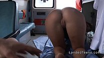 Redhead teen has sex in an ambulance in public