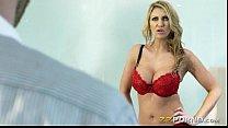 Sexy blonde pornstar babe Leigh Darby cum blasted on big tits