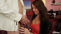 Fakeshooting  - Cute brunette takes it from beh...