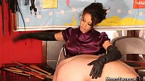 Harsh gloved OTK Femdom spanking