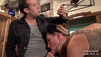 Pretty french babe banged hard like a dog in a bar