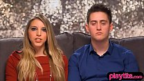 Amateur blonde and her boyfriend tries threesom...