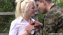 Blonde teen Anna Reu gets nailed outdoors