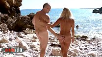 Hot blonde milf gets her two holes filled at the beach