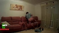 The fat woman in pajama fucks her husband on the couch ADR0236