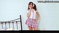 Schoolgirl Kacie James masturbating