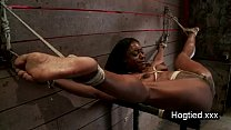 Ebony body builder tied up and vibed thumb
