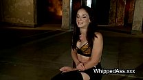 Shackled brunette ass fisted and spanked